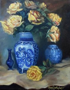 Original Still Life Oil Painting  Yellow Roses by ChatterBoxArt