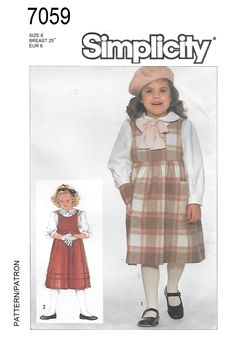 Simplicity 7059 Girls 80s Blouse & Jumper Sewing Pattern Size 6 Breast 25 by Denisecraft on Etsy