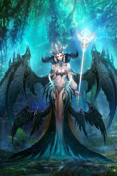 Fantasy Female Warrior, Fantasy Demon, Demon Art, Anime Fantasy, Dark Fantasy Art, Fantasy Artwork, Fantasy Art Angels, Fantasy Art Women, Beautiful Fantasy Art