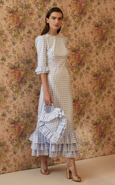 Get inspired and discover The Vampire's Wife trunkshow! Shop the latest The Vampire's Wife collection at Moda Operandi. Older Women Fashion, Curvy Fashion, Fashion Top, Womens Fashion, Style Année 70, The Vampires Wife, Gingham Dress, Blue Gingham, Girls Dresses