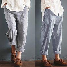 acd378d8864 Unisex Casual Stripe Pants Long Pants Leisure Trousers Plus size