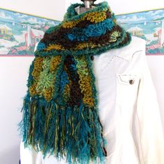 Bold Multicolor Handmade Scarf Turquoise by WildHeartYarnings, $36.00