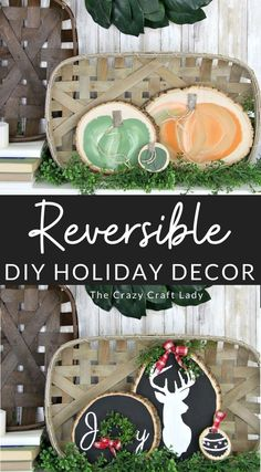Seasonal wood round crafts transition seamlessly from fall to winter. Make your holiday craft reversible, and get two-for-one decor. Farmhouse-style fairytale pumpkins on one side and a Christmas scene on the other. Rustic Crafts, Dyi Crafts, Recycled Crafts, Diy Craft Projects, Fall Crafts, Holiday Crafts, Home Crafts, Wood Projects, Holiday Ideas