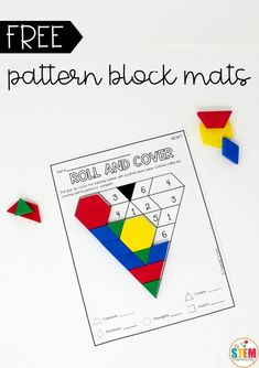 Super fun pattern block mats for Valentine's Day! Such a great math center in kindergarten or first grade. I love that it practices shapes AND numbers at the same time! Montessori Activities, Fun Activities For Kids, Learning Activities, Kindergarten Math, Teaching Math, Preschool, Math Art, Math Practices, Valentines Day Activities