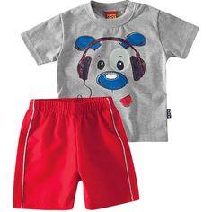 Conjunto Infantil Masculino de Verão Dog Cinza - Kyly :: 764 Kids | Roupa bebê e infantil