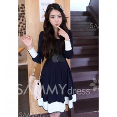 Dark Blue Round Neck Women 8217 S Long Sleeves Dress Discover And The Latest Fashion Celebrity Street Style Outfit Ideas You Love On Www Zkkoo