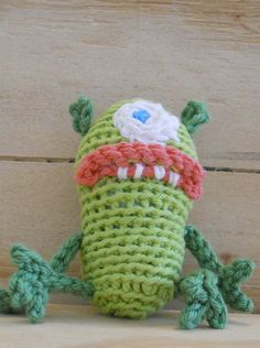 Green just landed from out of space in his tiny crochet zeppelin spaceship and his looking for a little human companion to spend his days with