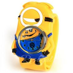 Adorable Pat Silicone Strap Quartz Wrist Watch with Single Eye Despicable Me Minion Dave Shaped Case - Yellow