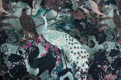 Uccelli On Olive - Silk - Tessuti Fabrics - Online Fabric Store - Cotton, Linen, Silk, Bridal & more