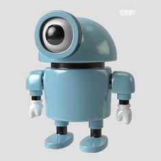 Lief robotje, net als een baby: een groot rond hoofd, groot verbaasd oog, korte armpjes en ook nog schattig babyblauw.