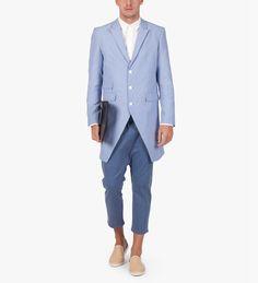 Blue Stripe Three Button Seersucker Coat