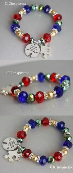 New handmade Autism Awareness Prayer Bracelet! www.cicinspireme.etsy.com