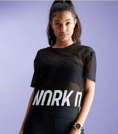 Black Mesh Work It Print Sports Crop Top  | New Look