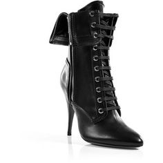 """stylebop.com  Luxurious boots in black leather. Worldclass shoe by the new mega-label Balmain, Paris. Pointy front (yes, that's new!) Sexy lacing. Ankle covering cut with foldover. Silver zipper add a hint of pink-rock. Pointy heel - typical Balmain. Super sexy yet cool, a signature piece for fahionistas. A hit with mini skirts, cargo pants, turn-up jeans. Inside height: 3.1 """" Outside height: 4.3 """" Material: 100%Leather."""