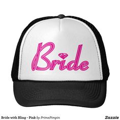 3348418f Bride with Bling - Pink Trucker Hat T Rex Humor, Funny Humor, Volleyball Mom