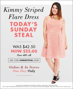 Hurry! One day only! USE CODE: SUNDAYSTEAL  The Kimmy Plus-Size Orange and White Striped Flare Dress