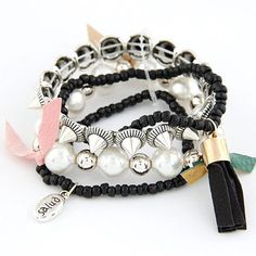 Woolrich Black Multilayer Design Measle Korean Fashion Bracelet:Asujewelry.com
