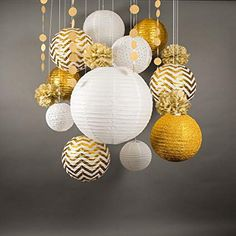 Gold / White New Year's Eve Celebration Party Pack Paper Lantern Combo Set Paper lanterns are