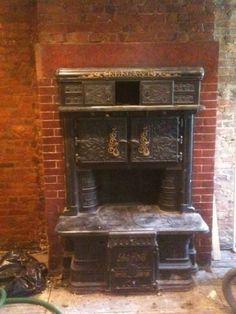 Original built-in Victorian range in Brooklyn kitchen.