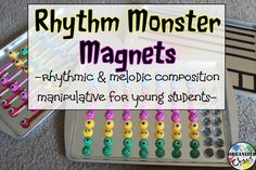 Organized Chaos: Teacher Tuesday: rhythm monster magnets for music composition. Perfect for lower elementary, even kindergarten! Magnets showing how many sounds in each beat with the number of eyes. I love the clear magnets for rests and the monsters with tails for half notes!