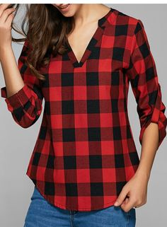 Red Blouses, Cotton Blouses, Shirt Blouses, Blouses For Women, Plaid Shirts, Loose Fitting Tops, Loose Tops, Cut Loose, White Lace Blouse
