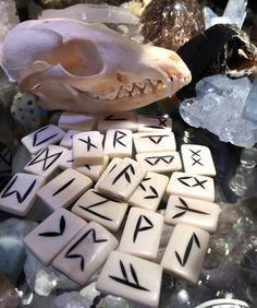 Bone increases energy and memory. Use for protection, exorcism and for past life work. Also calms anxiety and communication on all levels. This is all natural animal bone. All Runes Sets come with Vel