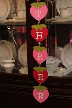 Handmade  Customized Strawberry Banner...Great for Strawberry Shortcake Party on Etsy, $13.00
