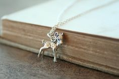 A Deer in the Forest  A Sterling Silver Necklace by TwoLittleDoves, $26.00