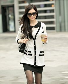 Stylish Two-tone V-neck Women Cardigan Sweater with Brooch on BuyTrends.com, only price $23.60