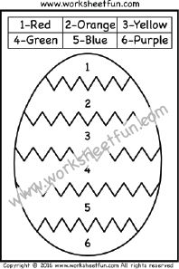 Color by Number – Easter Worksheets – Easter Eggs – One Worksheet