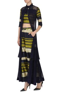 Featuring a navy blue and olive green stripe crop top in chanderi base with matching culottes and belt. It is paired with navy blue cape in chiffon base with double frill. Western Outfits, Western Wear, Hijab Fashion, Fashion Outfits, Fashion Clothes, Women's Fashion, Desi Wear, Indian Wear, Indian Suits