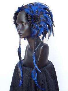 Blue & Black Feather Headpiece