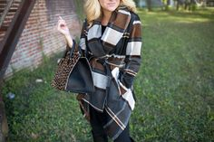 Plaid Wrap Coat for Fall with Leopard Print Clare V Sandrine Bag and Tall Black Boots with leggings