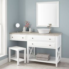 "60""+Glympton+Vessel+Sink+Vanity+with+Makeup+Area+-+White"