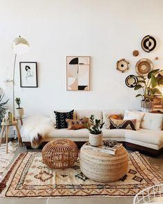 Interior boho design living room home decor  A mix of mid-century modern b