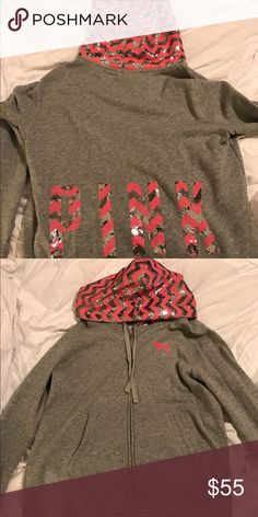 VS PINK bling hoodie This was a limited edition VSPINK bling hoodie. Has only been worn once. In excellent condition. Design is chevron on the hood and on the back side as well. Size Large PINK Victoria's Secret Tops Sweatshirts & Hoodies