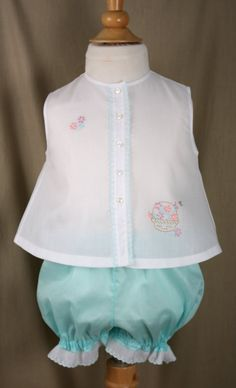 3ed584c73 This diaper shirt and panties are made from patterns and . I used  Bearimissa Swiss batiste white and seafoam fabric and trim whi. Vintage Baby  ClothesCute ...