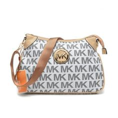 Michael Kors Stockard Logo Large Grey Crossbody Bags Outlet