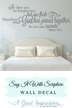 No longer two but one marriage decor. Matthew scripture beautifully designed to create that special statement in your home. Makes a great wedding or anniversary gift! Biblical Quotes, Bible Verses Quotes, Bible Scriptures, Spiritual Quotes, Wall Stickers Family, Kids Wall Decals, Divine Mercy Chaplet, Personalized Wall Decals, Qoutes