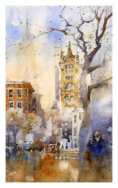 Iain Stewart watercolor - Union Square: