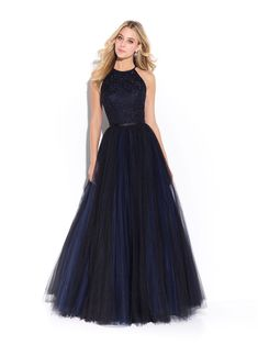 Madison James Prom style 17-243. Color Navy with a multihued tulle and a sweet keyhole opening. Available at Bridal Collections Spokane, WA