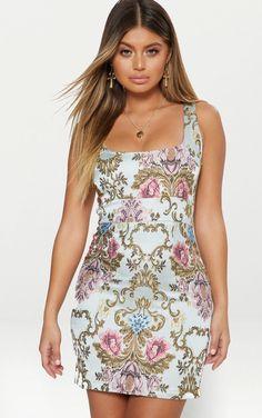 be67665d96 Dusty Blue Floral Jacquard Square Neck Bodycon Dress