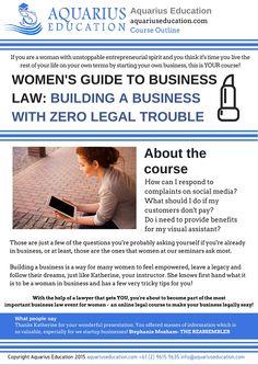 Women's Guide To Business Law: Building a Business #women #business #mumpreneur http://www.aquariuseducation.com/course/women-building-a-business/