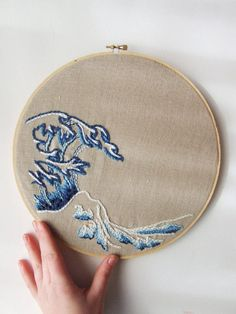 Yeah! Made the Etsy Front Page!! Embroidery Hoop Art Modern Japanese Wave by KingSoleil