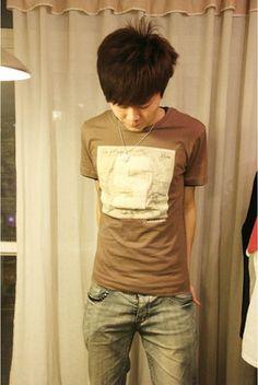 Men's Round Neck Solid Color Number Applique Short Sleeves Cotton Blend T-Shirt