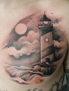 looove the idea of a lighthouse tattoo. Up Tattoos, Cool Tattoos, Tatoos, Awesome Tattoos, Faro Tattoo, Dibujos Tattoo, Home Tattoo, Tattoo Outline, Chest Tattoo