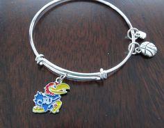 Kansas Jayhawks University of Kansas Basketball Bracelet - Free Shipping by BrunosBling on Etsy
