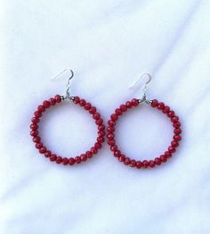 A personal favorite from my Etsy shop https://www.etsy.com/listing/461186466/red-beaded-hoop-earrings