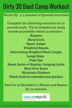 Dirty 30 Boot Camp Workout More More
