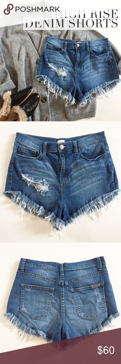 "High Rise Distressed Denim Shorts by SNEAK PEEK LA Too big for me, hence no try-on pics. Size L, 98% cotton 2% spandex high rise distressed cutoff shorts, angle cut, seriously great fringe, factory whiskering and rips. Zip fly with button closure. Fits like a 4 IMO. This is a sexy fit. Laying flat: Approx. 15"" across waist, 19"" across hips, 12"" front rise, 2"" inseam, 10"" side length. Laundered and ready to flaunt! Sneak Peek LA Shorts Jean Shorts"